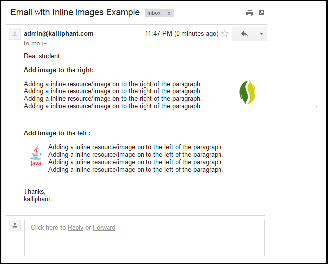 Spring – Send email with an inline images – Kalliphant